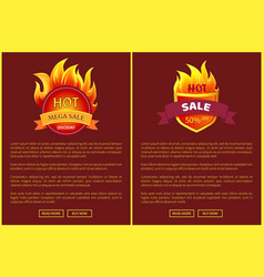 Mega sale burning labels with info about discounts vector