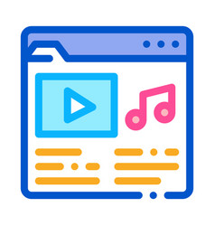 Music folder with songs icon outline vector