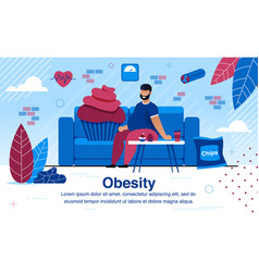 obesity and unhealthy lifestyle flat banner vector image