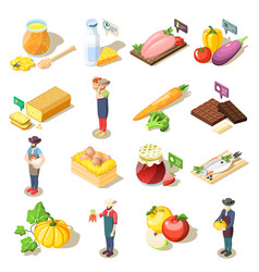 Organic food isometric icons vector