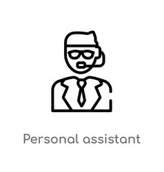 Outline personal assistant icon isolated black vector