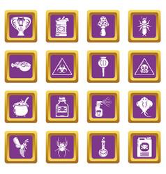 poison danger toxic icons set purple square vector image