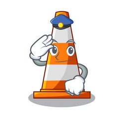 Police traffic cone on road cartoon shape vector