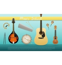 Realistic banner with musical instruments sign vector