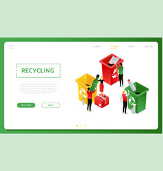 recycling - modern colorful isometric web vector image