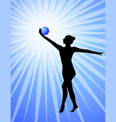 rhythmic gymnast silhouette on the abstract vector image