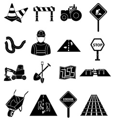 Road construction icons set vector