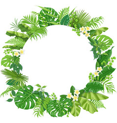 Round frame with tropical leaves and flowers vector