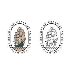 sailing boat vintage logo vector image