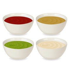 sauceboat with a variety of sauces vector image