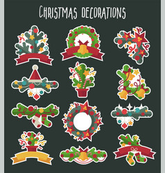 set christmas decoration design elements vector image