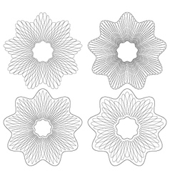 set of 4 guilloche pattern rosette vector image