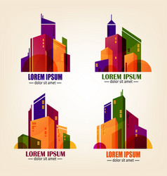 Set of city logos in flat design colourful vector