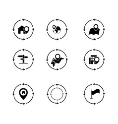 set of navigation pinpointer icons the black vector image