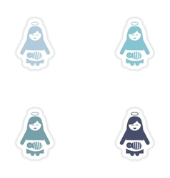 Set of paper stickers virgin mary newborn jesus vector