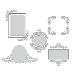 set - tracery and frames for design vector image