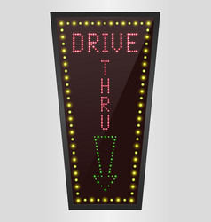 Shining retro light banner drive thru vector