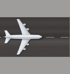 silver airplane on the background of asphalt top vector image