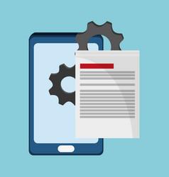 Smartphone document gear work vector