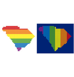 spectrum pixel dotted south carolina state map vector image