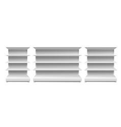 Store shelves white supermarket retail rack vector