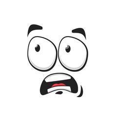 Surprised cartoon face icon funny emoji vector