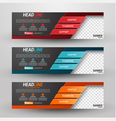 three banners business with abstract background vector image