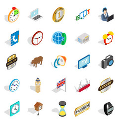 time period icons set isometric style vector image
