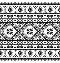 Traditional folk knitted black embroidery pattern vector