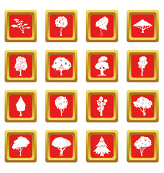 Trees icons set red vector