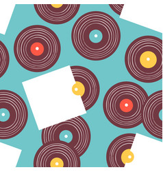 vintage vinyl music album seamless pattern vector image