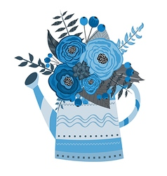 Watering can with a bouquet of watercolor flowers vector