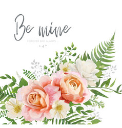 Wedding invite greeting card floral modern design vector