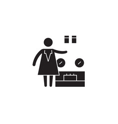 weighing goods black concept icon weighing vector image