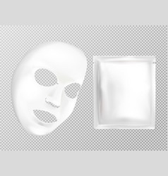 white facial cosmetic mask and sachet vector image