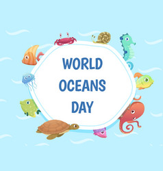world oceans day poster save water background vector image