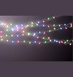 xmas color garland festive decorations glowing vector image