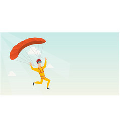 Young caucasian skydiver flying with a parachute vector