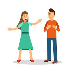 Aggressive young woman woman shouting at man vector