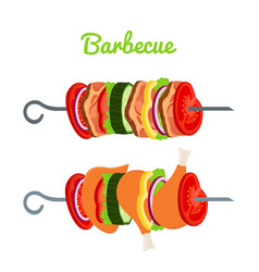 barbecue with meat chicken cartoon flat vector image