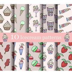 cake seamless patterns set vector image