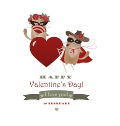 Couple of funny valentine cats Zorro cat and his vector image