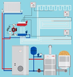 Energy-saving heating system with thermostats vector image vector image