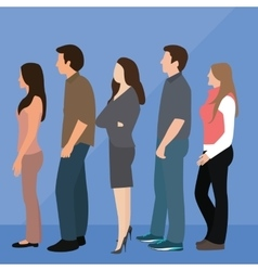 group of people man woman queue line standing vector image vector image