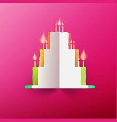 paper cake with candles on pink background vector image vector image