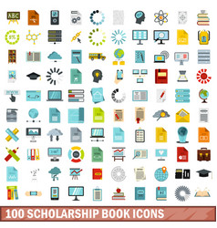 100 scholarship book icons set flat style vector image