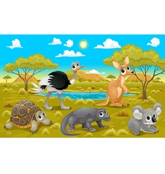 Australian animals in a natural landscape vector image