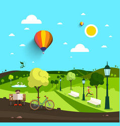 city park with man on bench and bicycle with vector image vector image