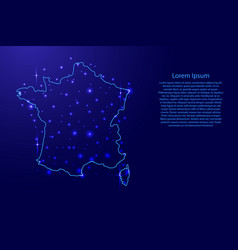 map of the france from the contours blue vector image