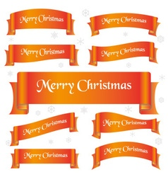 orange shiny color merry christmas slogan curved vector image vector image
